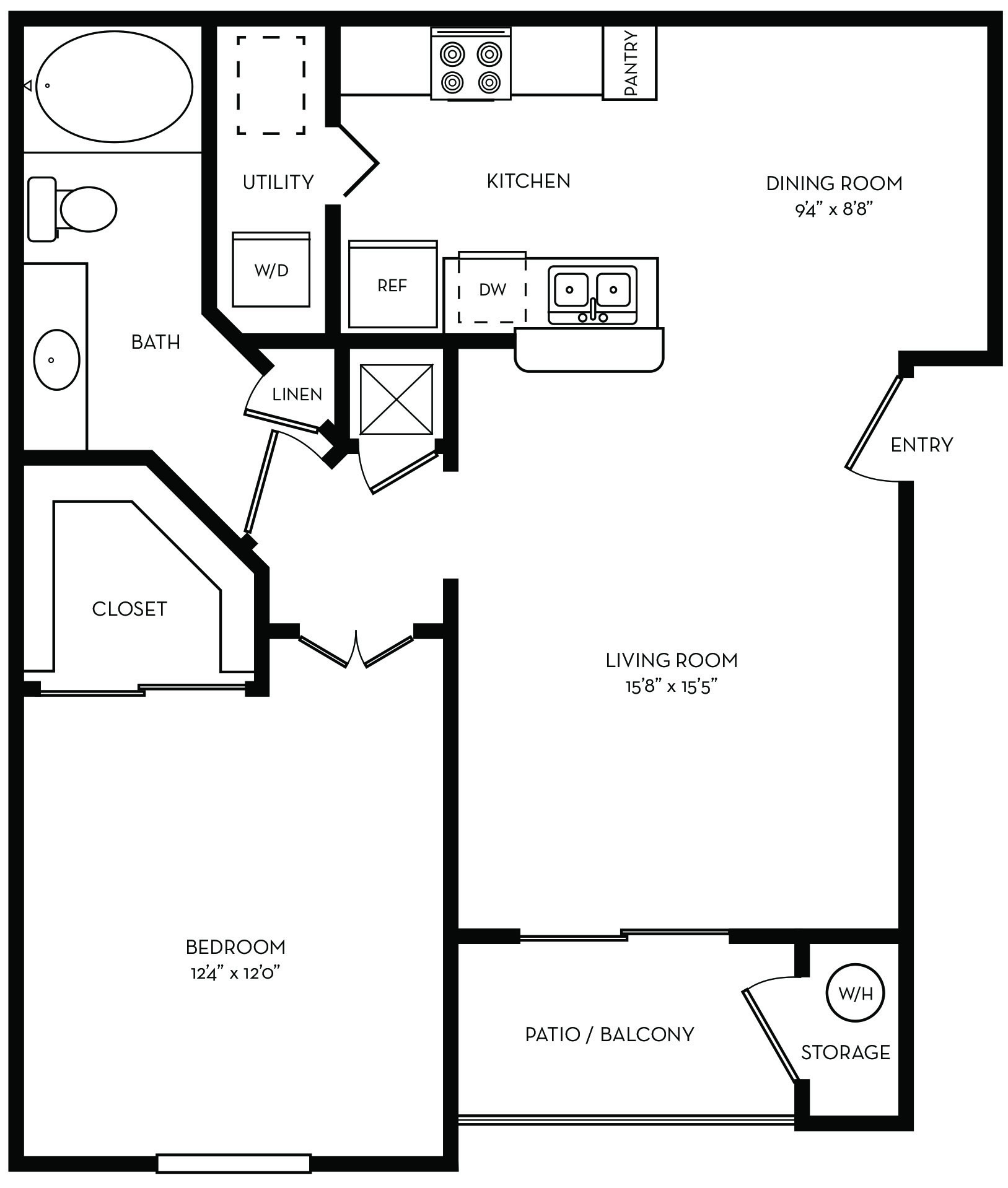 One bedroom floor plan at Lincoln Melia Medical Center Apartments in Houston