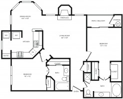Two bedroom floor plan at Lincoln Melia Medical Center Apartments in Houston