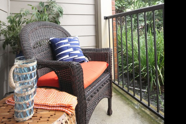 Apartment balcony at Lincoln Melia Medical Center Apartments in Houston