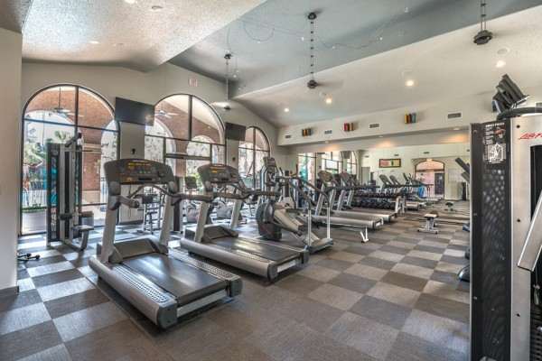 Fitness center at Lincoln Melia Medical Center Apartments in Houston
